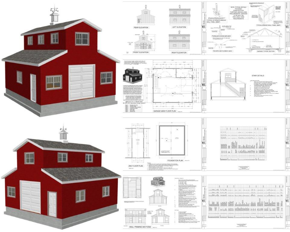Monitor barn plans and blueprints for Garage barn plans